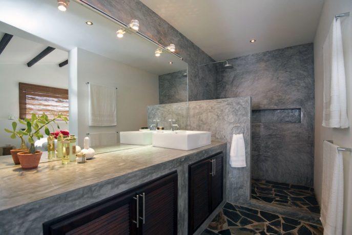 Concrete Vanity Unit Bathroom in Tropical Villa