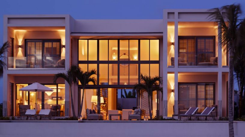 Contemporary Glass Fronted Villa with Great Lamp at Night