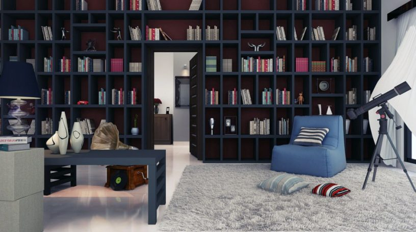 Cozy Home Library Design with Rug and Telescope