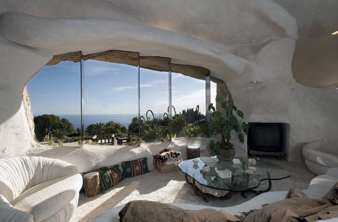 Flintstone Style Cave House Living Room with Sea View