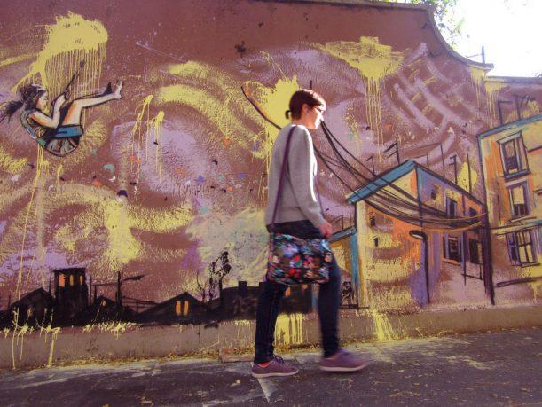 Flying Girl in Wall Mural Street