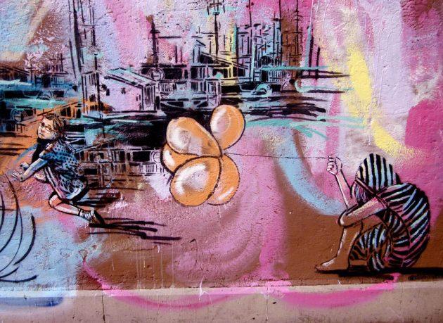 Girls with Orange Ballon in Wall Mural