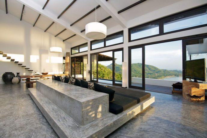Gray Concrete Floor Living Room and Sliding Door Ideas