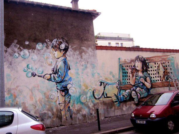 Kids Play Bubble in Wall Mural Street