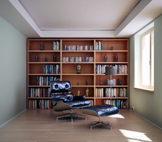 Masculine Home Library with Modern Leather Chair