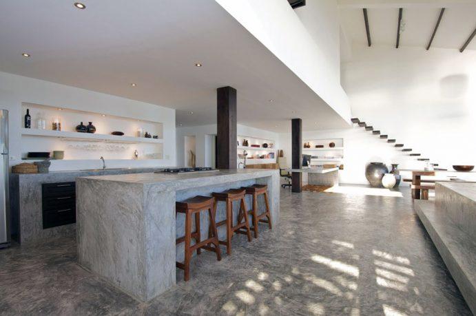 Minimalist Gray Concrete Kitchen Countertop Design