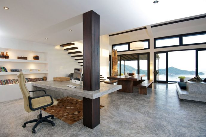 Modern Home Office Space with Concentrate Table Ideas