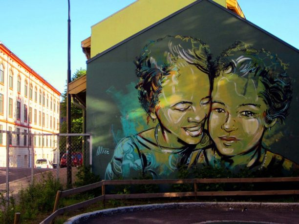Mom and Child Expression on Wall Mural