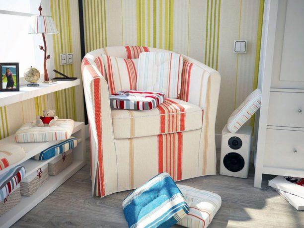 Orange Cream Striped Corner Sofa Design Ideas