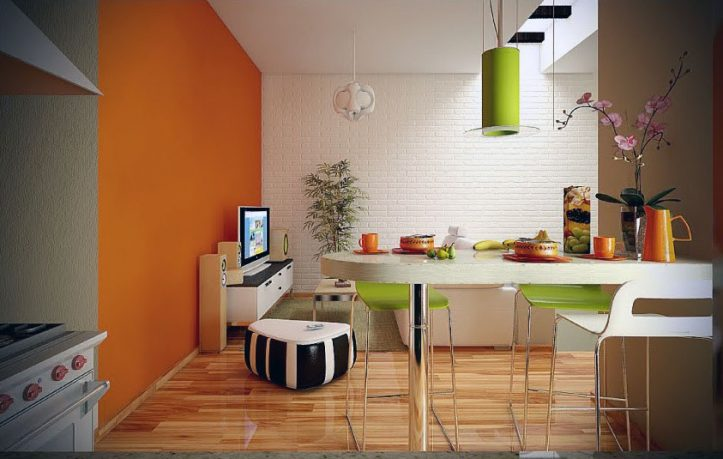 Orange Lime Green Dining Living Room with White Brickwall