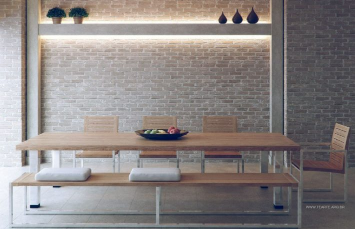 Original Exposed Brick Dining Room with Recessed Wall Lighting