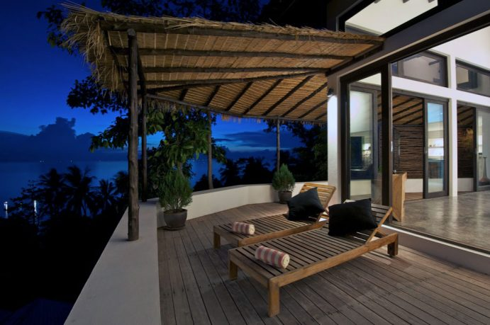 Romantic Sun Deck Loungers with Traditional Roof