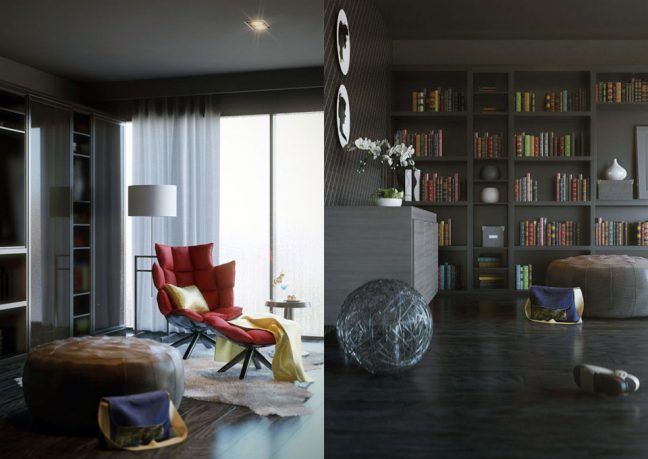 Romantic and Comfort Home Library Design