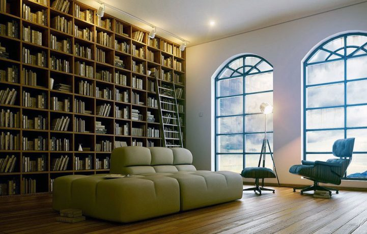 Sophisticated Home Library Design with Beige Sofa