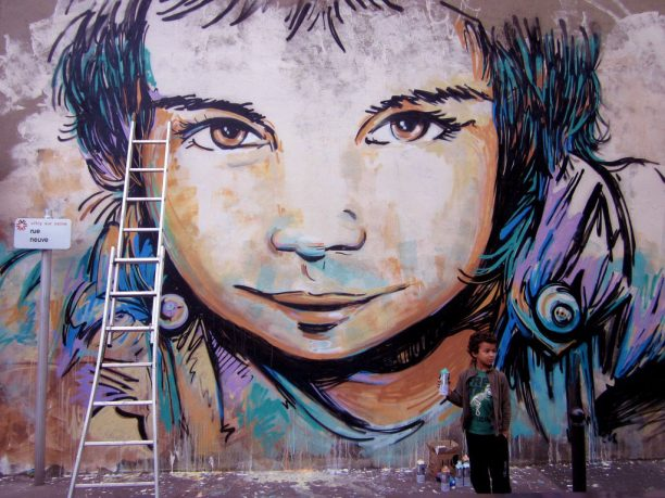 Street Wall Mural Kids Face Expression