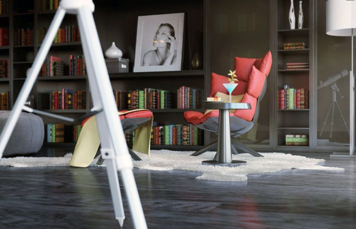 Stylish Modern Reading Corner with Red Chair Ideas