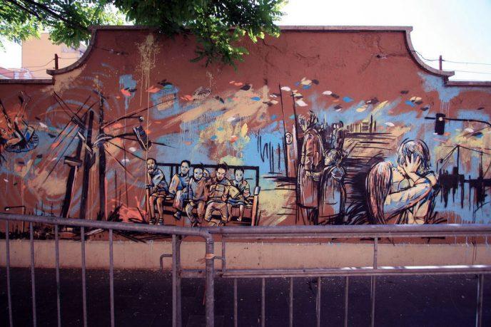Urban Landscape in Wall Street Mural