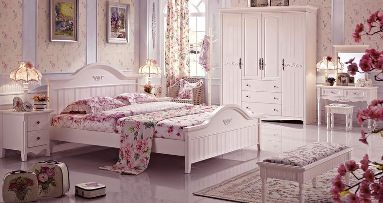 Beautiful White Pink Floral Bedroom Ideas
