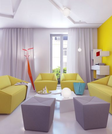 Bright Living Room with Grey Yellow Furniture