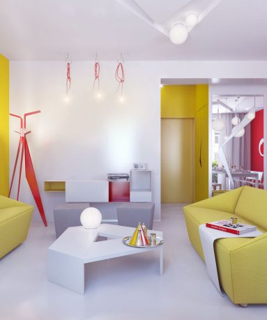 Bright Living Room with Yellow Sofas and White Coffee Table