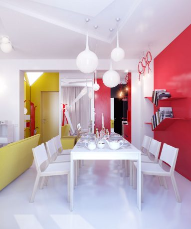 Bright Modern Dining Room in Small Apartment