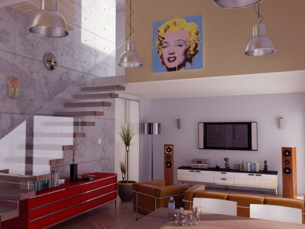 Contemporary Living Room Glass Balustrade Pop Art Ideas