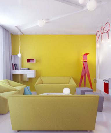 Living Room with Yellow Color and Red Accent