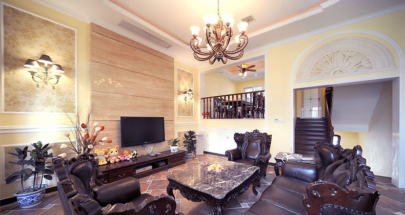 Luxury Living Room with Leather Sofa and Wood Paneling
