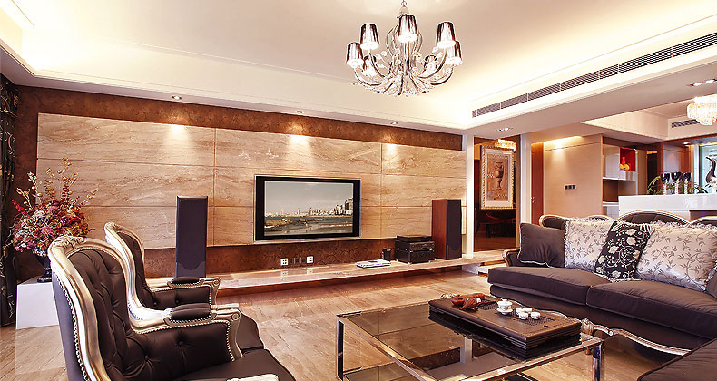 Luxury Living Room with Wood Paneling Entertainment Wall