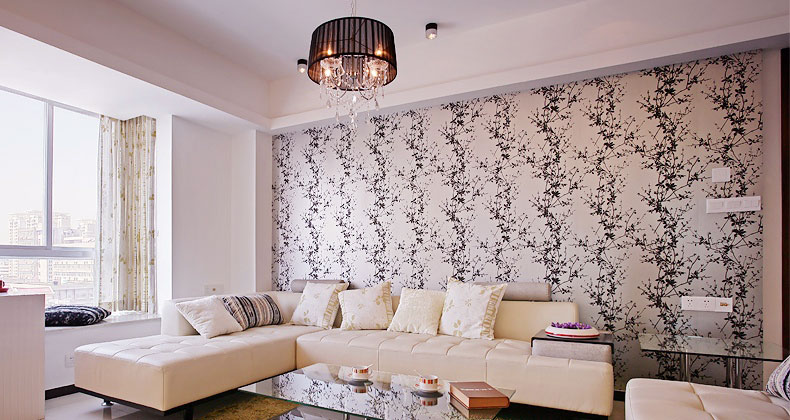 Modern Cream Living Room with Black Wall Decor