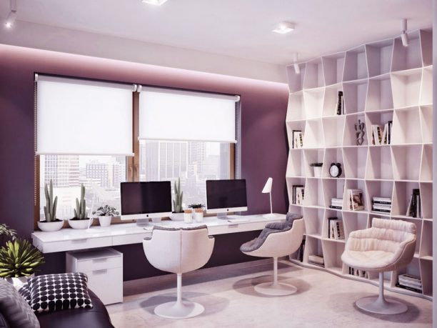 Modern Fresh Home Office with Double iMac Monitor