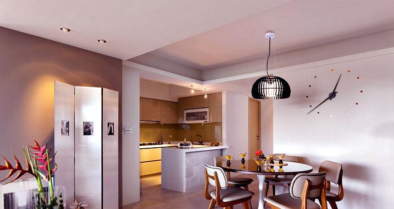 Modern White Brown Decor Kitchen Diner