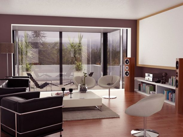 Neutral Living Room with Projector Screen and Glass Wall Ideas
