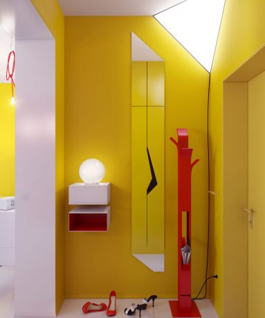 Yellow Hallway with Red Storage