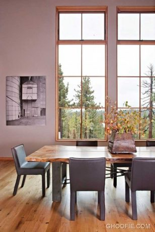 Bright Dining Room Design Ideas with Large Window
