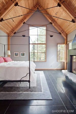 Luxury Bedroom Design with Wooden Ceiling