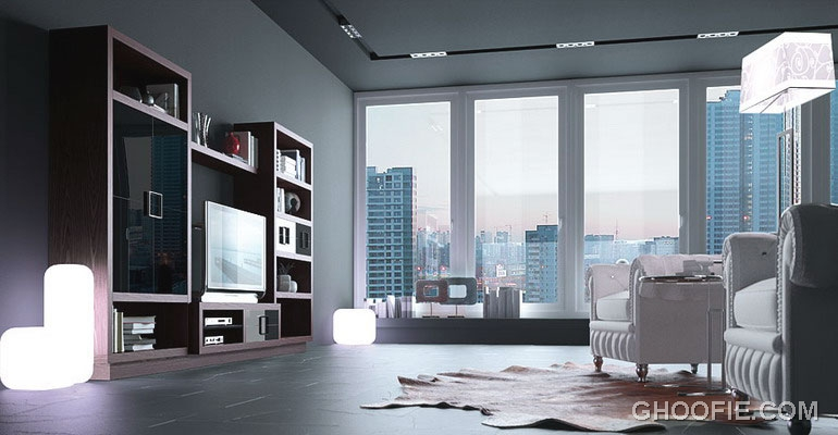 Modern Living Room Apartment with Cow Rug Ideas