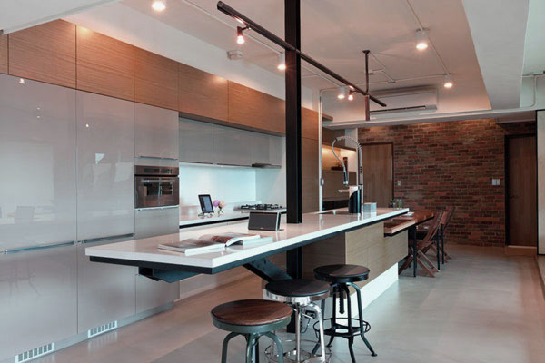 Cool Residence with Brick Wall Accent