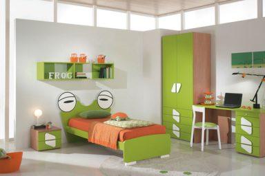 Green Orange Frog Shape Bed for Boys