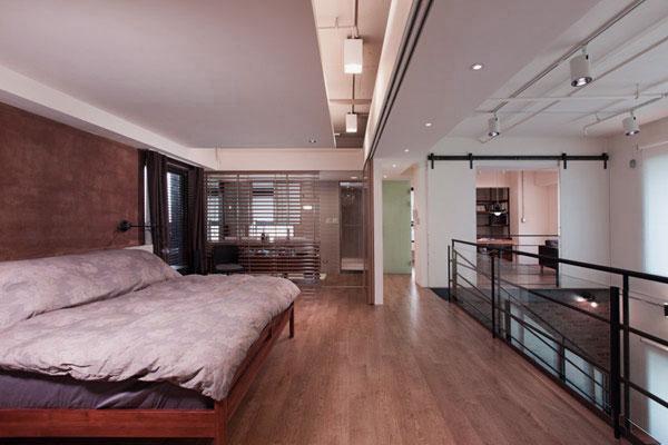 Minimalist Bedroom Design with Sliding Glass Door