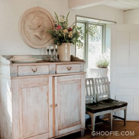 White Vintage House Design with Rough Furniture