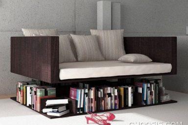 Awesome Levitating Sofa with Bookcase Design Ideas