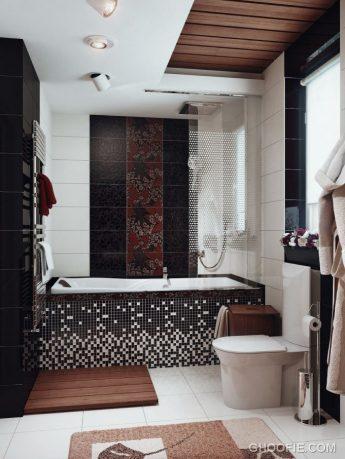 Black White Brown Bathroom with Ceramic Tile Decor