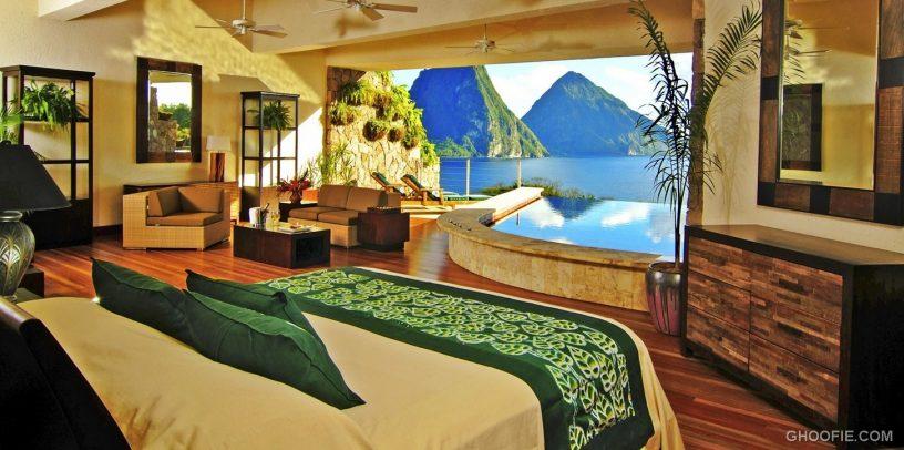 Luxury Green White Master Bedroom Design