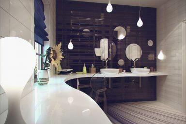 Luxury Purple White Ceramic Bathroom Tile Ideas