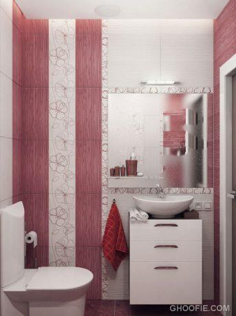 Small Minimalist Bathroom with Wall Striped Decor