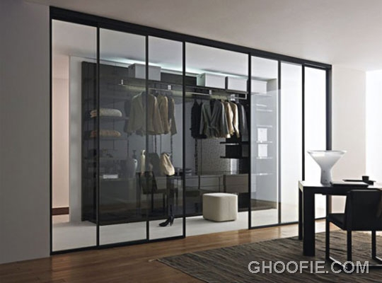 Awesome Walk in Closet Design with Sliding Glass Doors