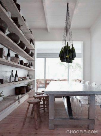 Dining Room Design Ideas with Concrete Wine Rack