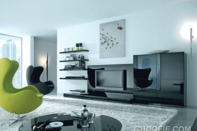 Modern Living Room with Green Black Sofas