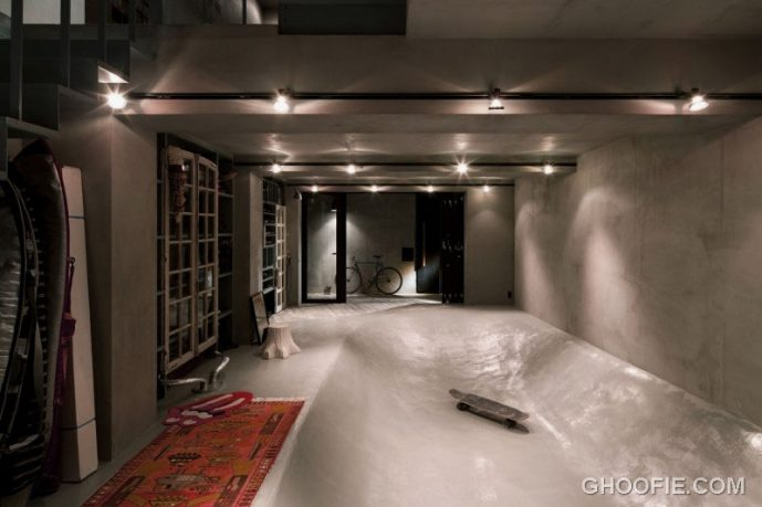 Modern House Design with Skateboard Bowl Imbedded into The Floor
